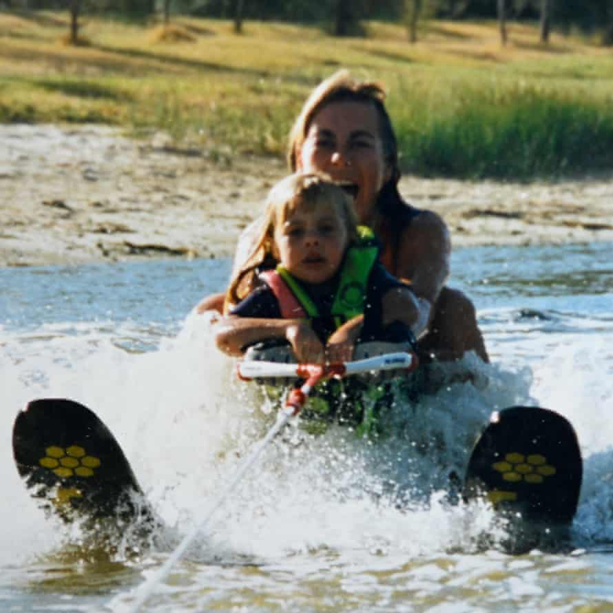 A young Jacinda Barlclay with her mother waterskiing