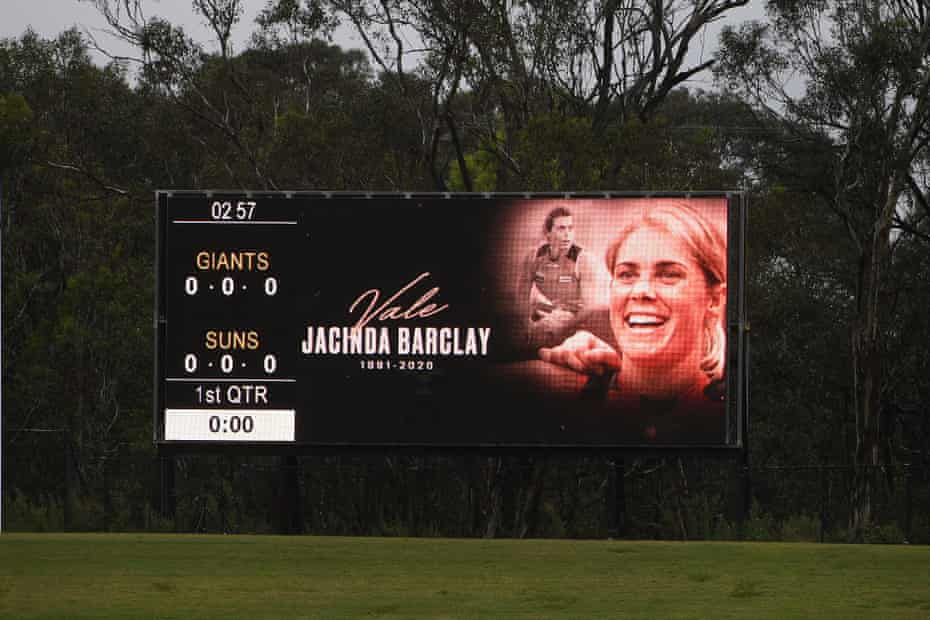 A tribute to Jacinda Barclay is shown on the big screen during a moments silence, ahead of the AFLW match between the GWS Giants and Gold Coast Suns.