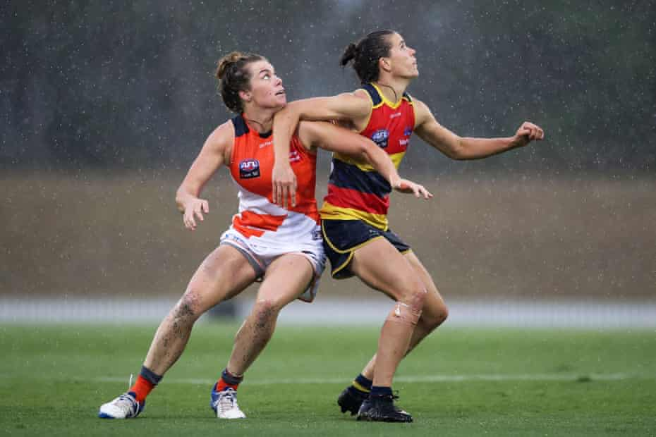 Chelsea Randall of the Crows is challenged by Jacinda Barclay of the Giants during an AFLW match between the Greater Western Sydney Giants and the Adelaide Crows in Blacktown.
