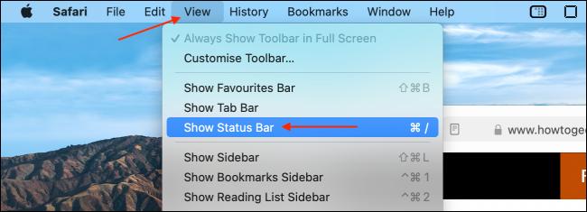 Enable Status Bar in Safari for Mac