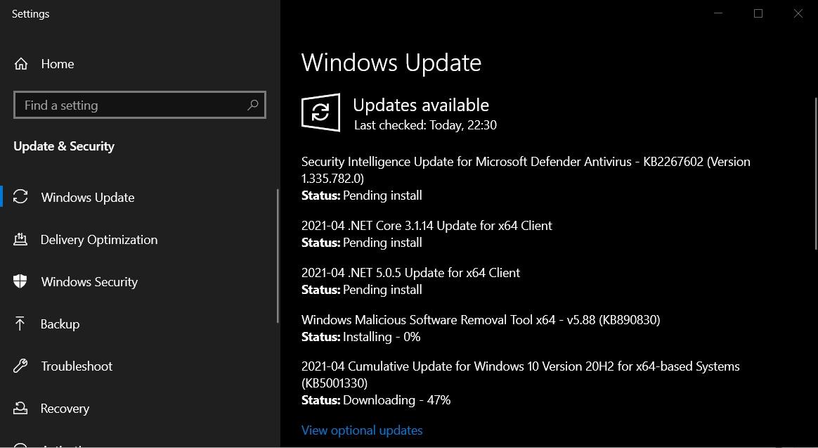 KB5001330 update