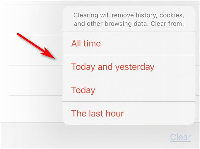 After tapping clear, choose which time option you'd like.