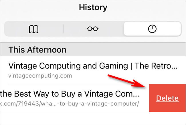In Safari's History list, you can swipe any individual entry and delete it.