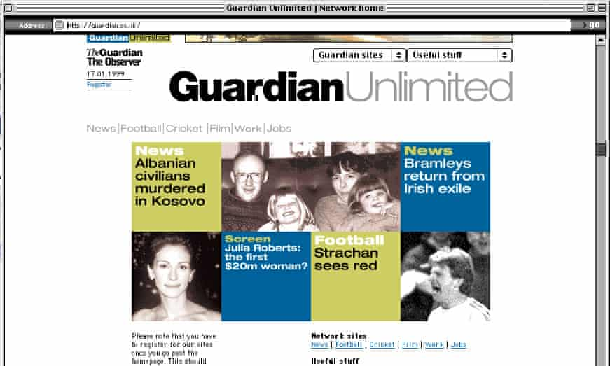 A screengrab of the Guardian Unlimited homepage in January 1999.