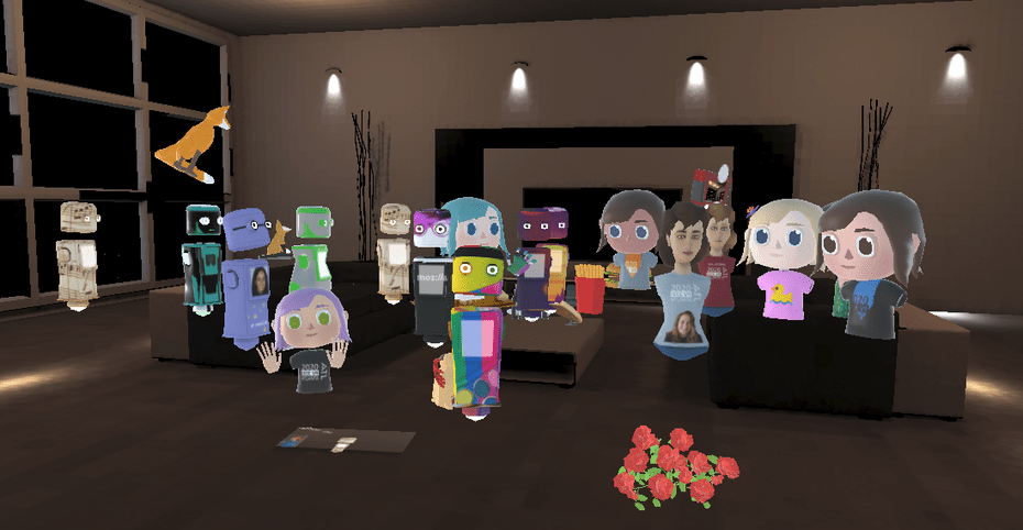 Women working in virtual and augmented reality network on Mozilla Hubs, a 3D-rendered space