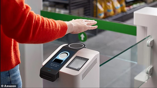 Customers can register for Amazon One at a participating store: After inserting a credit card into the kiosk, you're asked to hover your palm over the device. The system selects the most distinct identifiers to create your palm 'signature'
