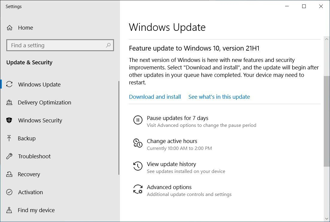 win10 21h1 download install