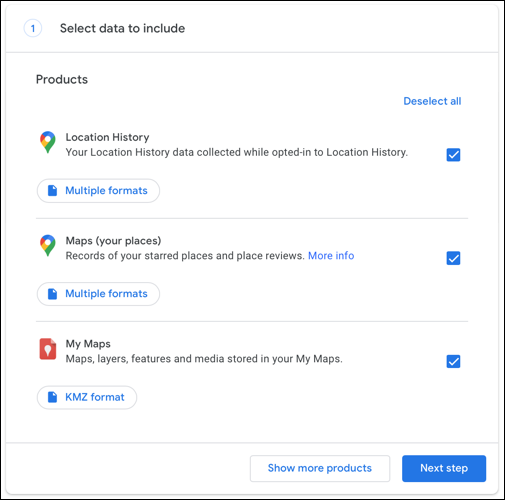 Check boxes for the data you want