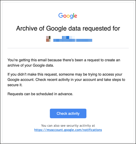 Data Export Email
