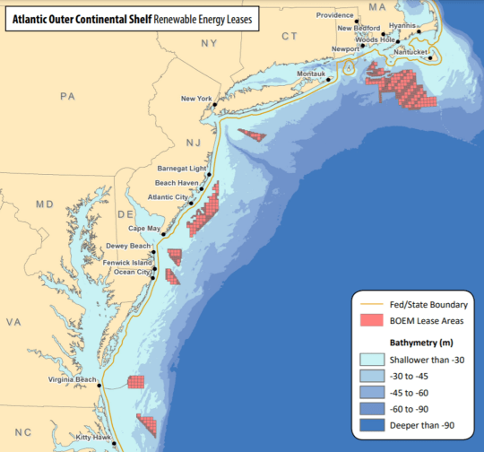 Developers already hold wind energy leases for several areas off the East Coast. (Photo: BOEM)