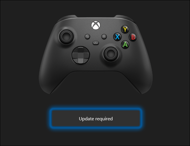 Xbox Wireless Controller can be updated using a Windows 10 PC. Click Update required to begin the process