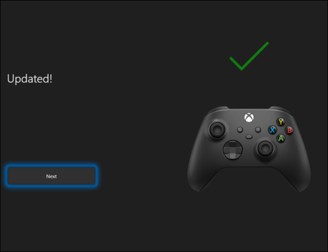 Click Next to complete the Xbox Wireless Controller's software update process