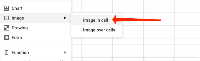 """Click """"Image in Cell"""" after you go to Insert > Image in Google Sheets."""
