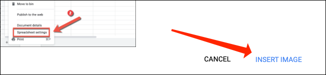 """Click """"Insert Image"""" to add a picture inside a cell in Google Sheets."""