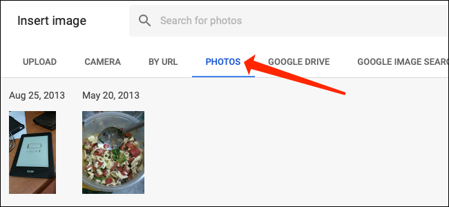 """Click the """"Photos"""" tab in Google Sheets."""
