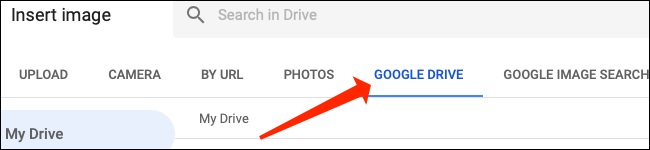 """Click """"Google Drive"""" to select images from there for Google Sheets."""