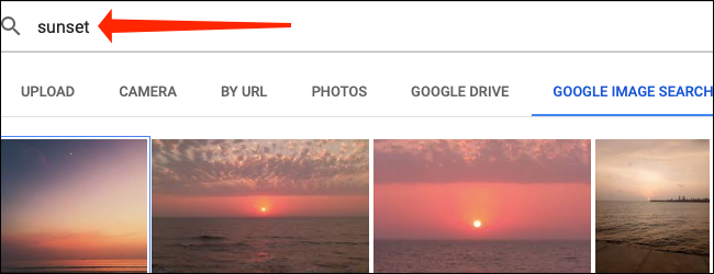 Use the search box to find an image from Google Images within Google Sheets.