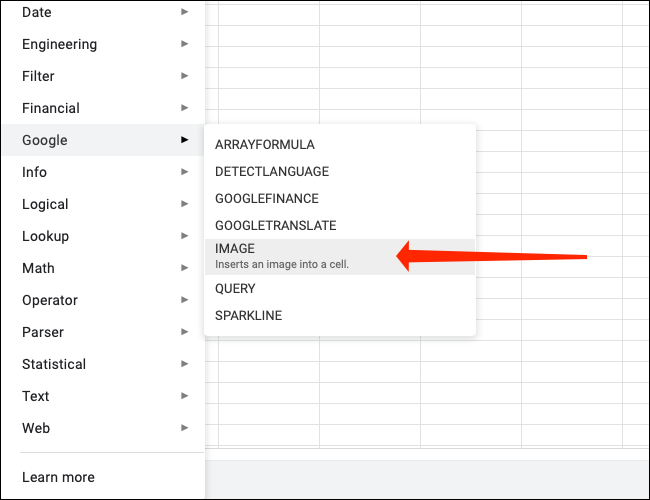 """Click """"Image"""" to use the Image function in Google Sheets."""
