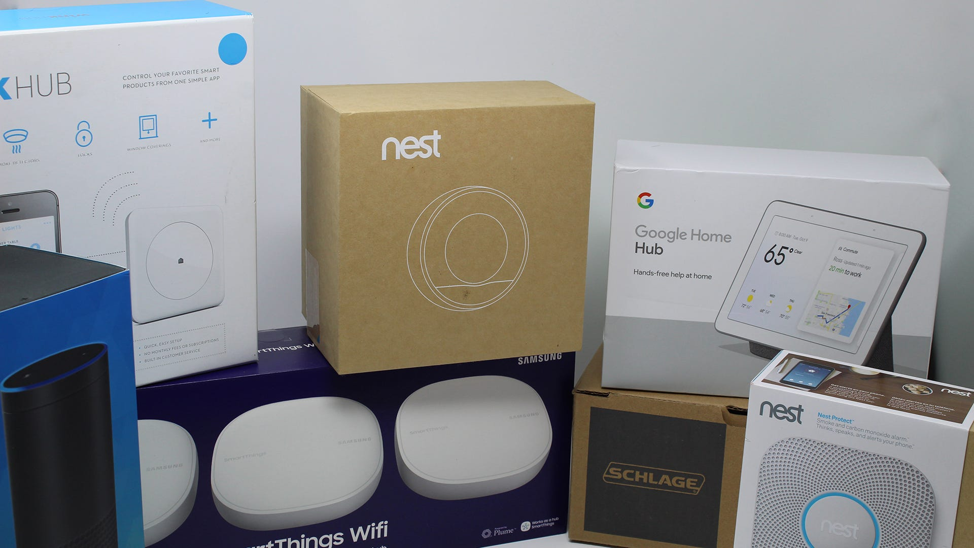 A Nest thermostat, Wink Hub, z-wave lock, and other hub-based devices.
