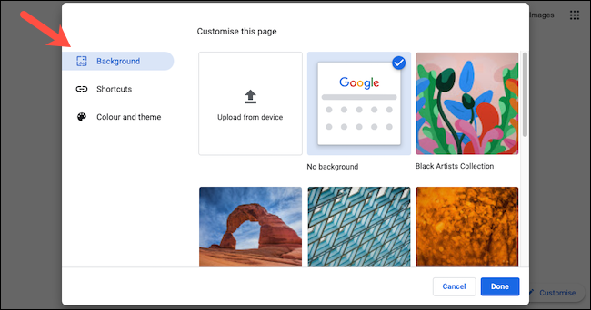 """Click """"Background"""" in the sidebar of the pop-up window."""