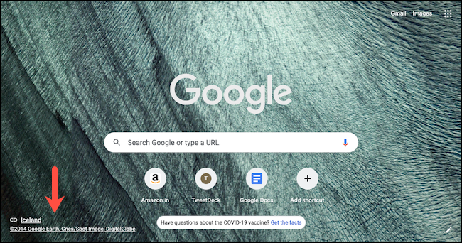 Check details of Google Chrome's new tab background by clicking the source link in the lower-left corner of the new tab page.