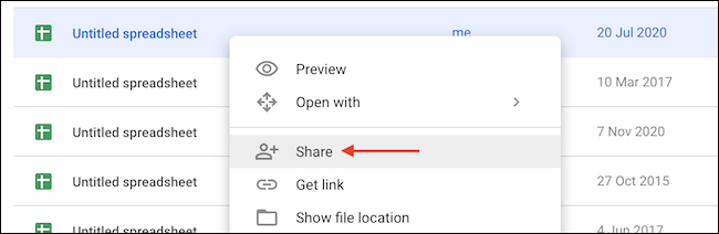 """Click """"Share"""" button in right-click menu in Google Drive."""