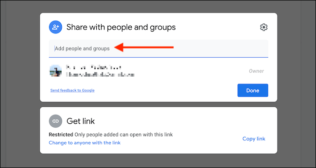 """Choose """"Add People and Groups"""" text box to invite people using email address."""