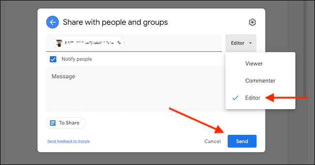 """Define the role for the user, and click """"Send."""""""