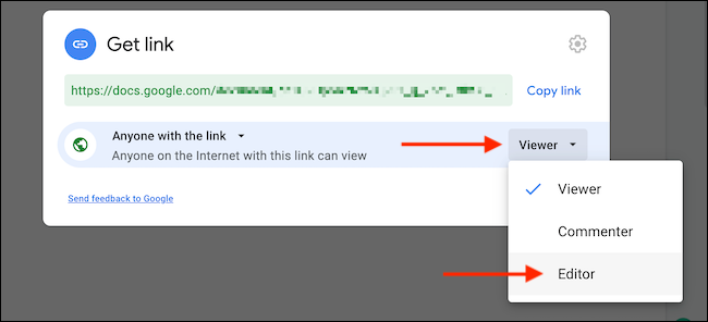 Define the role for users with link sharing.