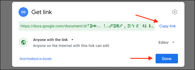 """Click """"Copy Link"""" to copy the sharing link to clipboard. Then click """"Done"""" to go back."""