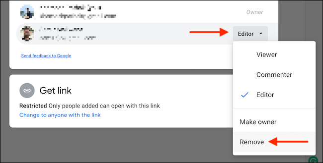 """In the Share menu, select the role for the user you want to remove, and click the """"Remove"""" button."""