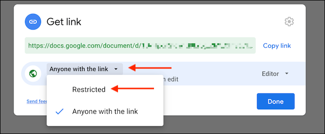 """Click """"Anyone With The Link"""" option, and switch to """"Restricted"""" to disable link sharing."""