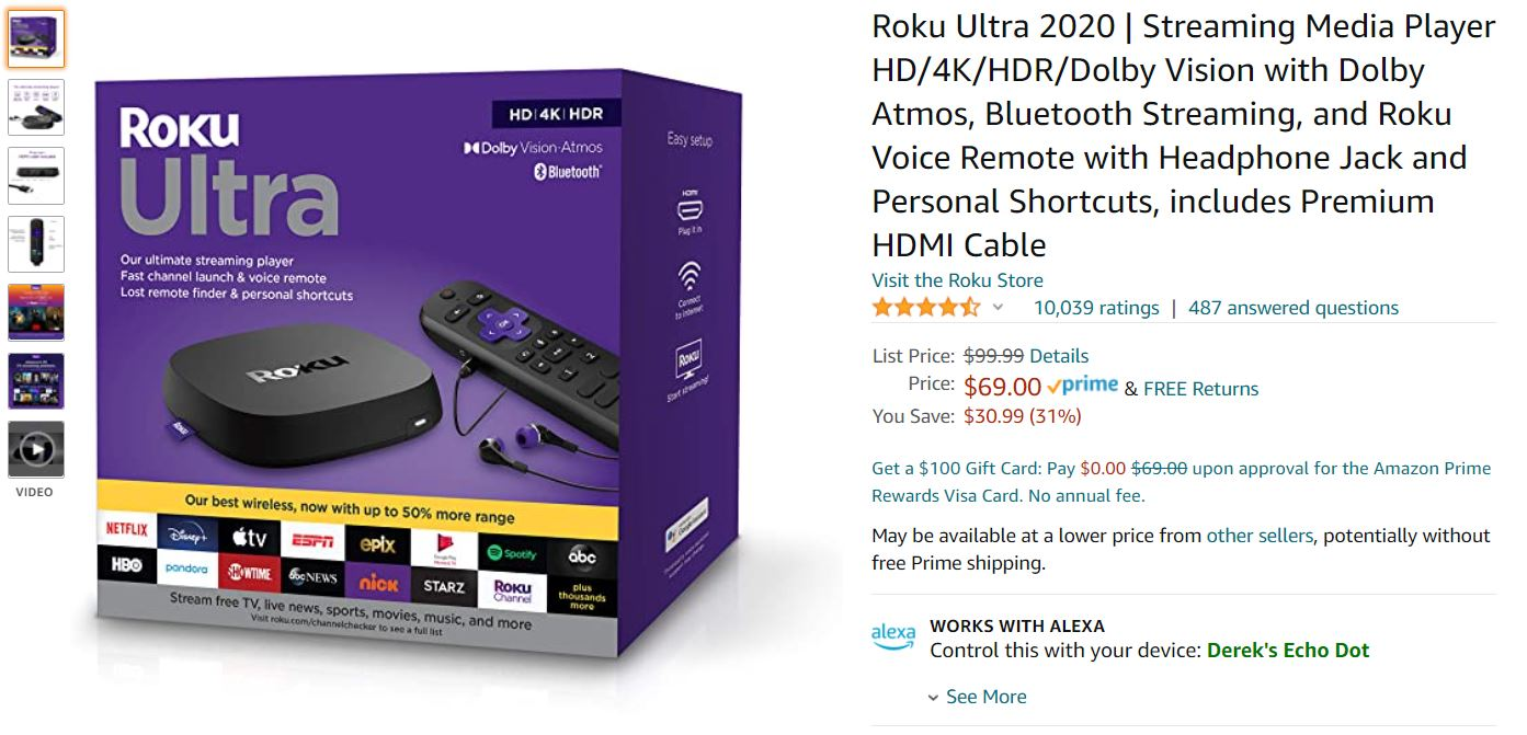 Roku Ultra 2020 Amazon Deal