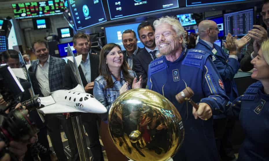 Richard Branson on the floor of the New York stock exchange after Virgin Galactic went public in October 2019.