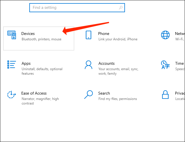 Click Devices in Windows 10 Settings to access Bluetooth pairing settings