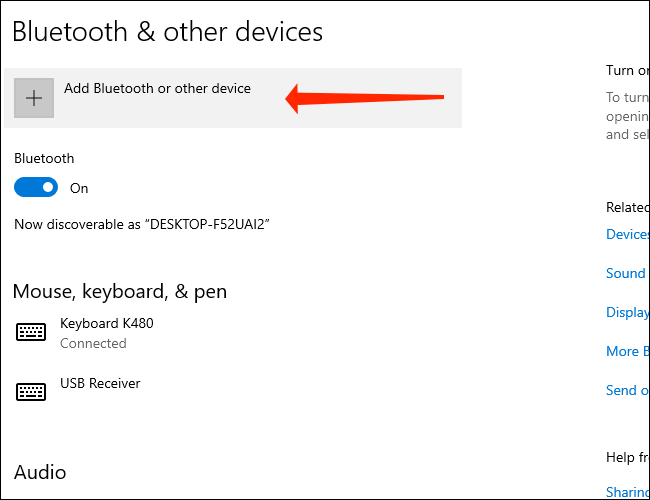 Click Add Bluetooth and other devices to pair a Bluetooth device with your Windows 10 PC