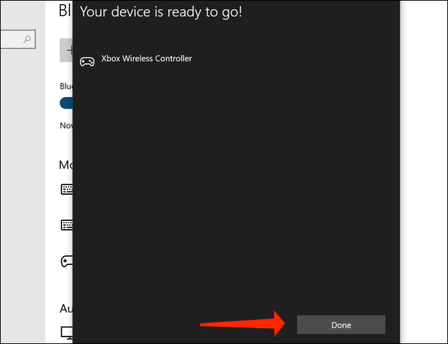 Click Done to finish pairing the Xbox Wireless Controller with your PC on Windows 10
