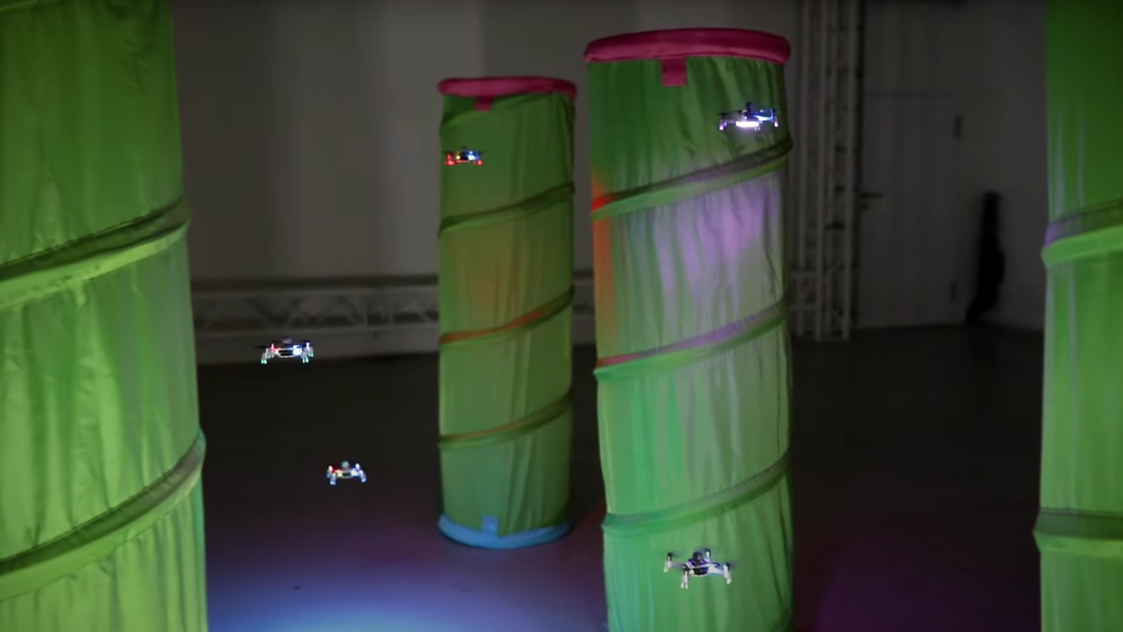 Drone swarms avoid obstacles and collisions