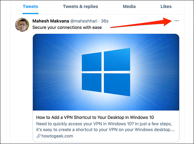 Click the three-dots menu at the top-right corner of a tweet on Twitter.