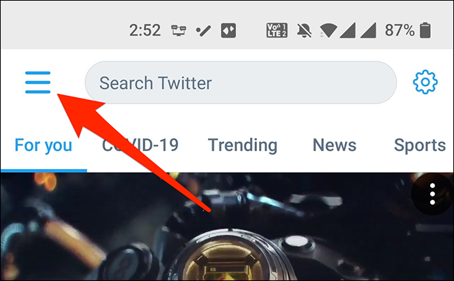 Open the app menu in Twitter's mobile app.