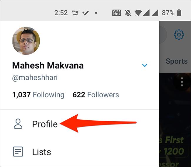"""Select """"Profile"""" in Twitter's app menu."""