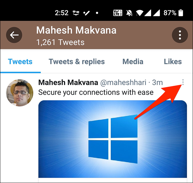 Tap the three dots at the top-right corner of a tweet in Twitter's mobile app.