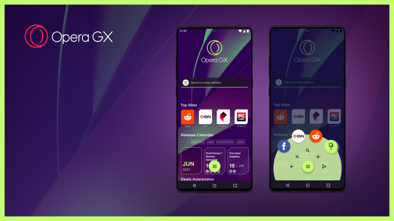 The Opera GX mobile browser is customizable for gamers.