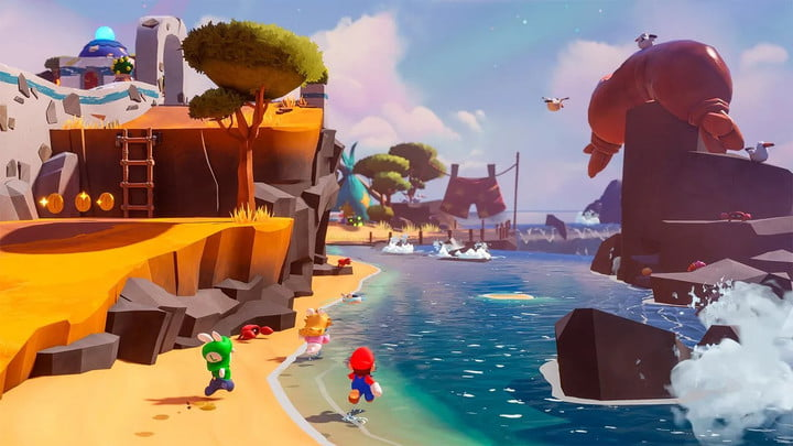 Mario, Rabbid Peach, and Rabbid Luigi explore a beach in Mario + Rabbids: Sparks of Hope.