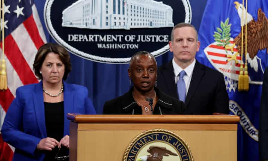 Stephanie Hinds, acting US attorney for the northern district of California, peaks about the Colonial Pipeline ransomware attack during a news conference.