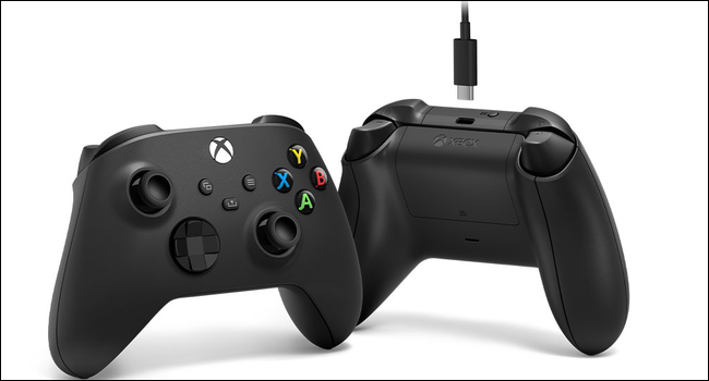 An Xbox Wireless Controller with a USB Type-C cable