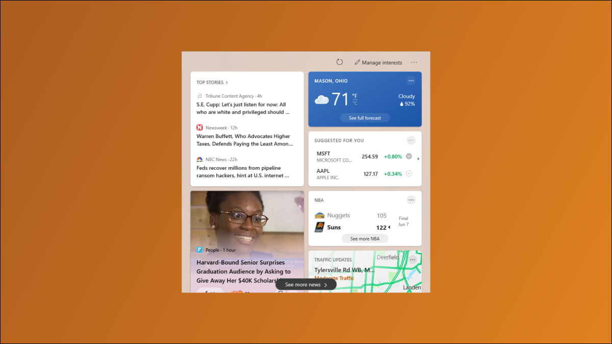 Windows 10 News and Weather.