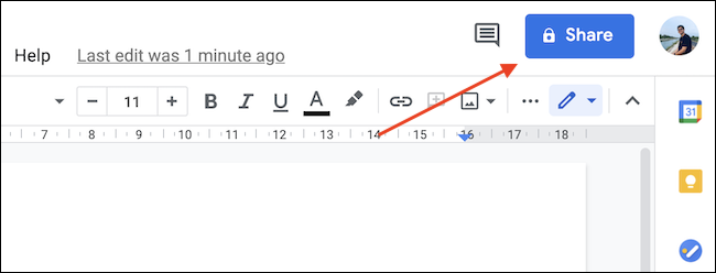 """Click """"Share"""" button in the top-right corner of the document."""