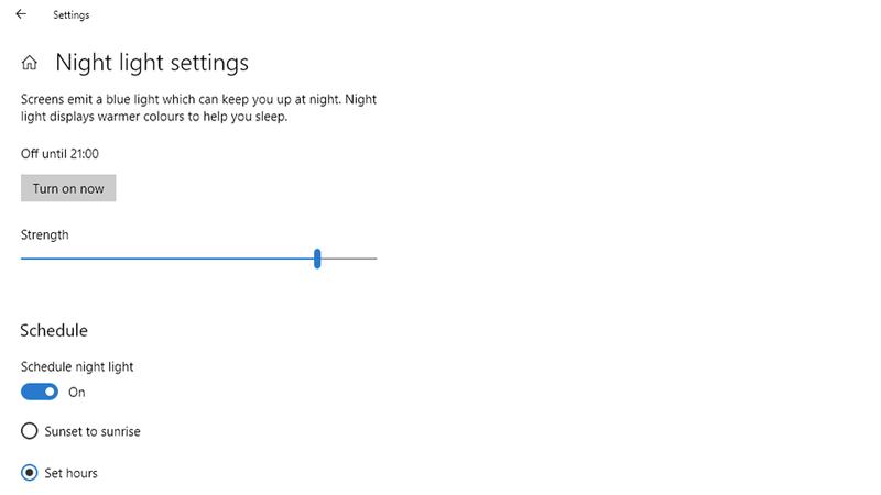 Night light Windows 10