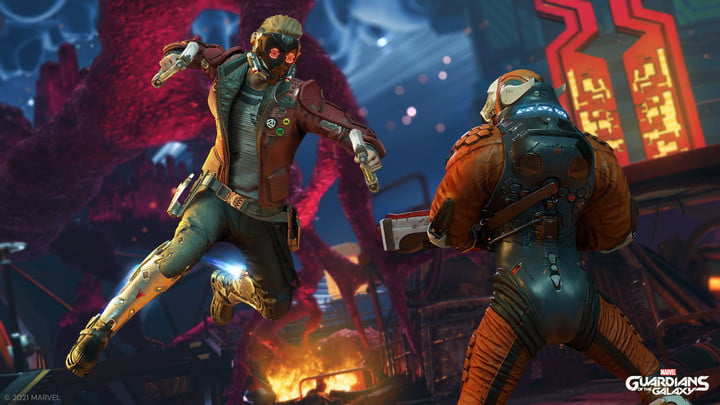 Star-Lord fights an enemy in Marvel's Guardians of the Galaxy.